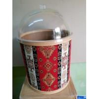 Kilim Desenli Peynir Zeytin Turşu Kabı 35 cm Leğenli Kapaklı