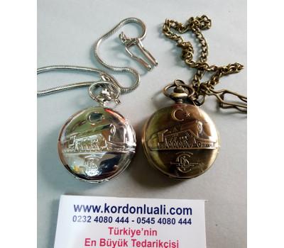 Köstekli Cep Saati Demiryolu Temalı Gümüş Veya Bronz
