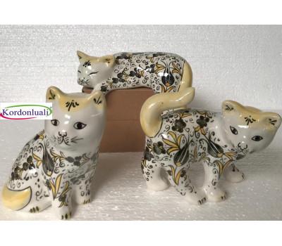 Seramik Çini İşleme Kedi Figürü