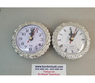 Geçme Saat 9.5 cm Gümüş Görünümlü Kenar Kabartma Desenli