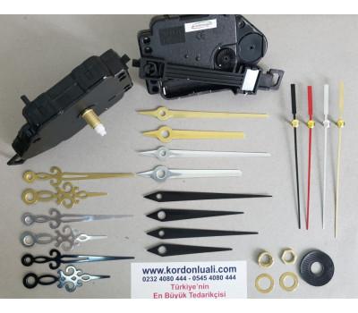 Sarkaçlı Saat Makinesi Şaft 18,5 mm Metal Akrep Yelkovanlı 100 Ad