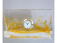 Şurup Masa Saati Oranç Rengi Cam Koleksiyonluk