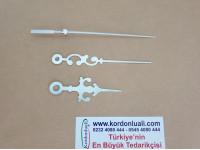 Akrep 6,5 Yelkovan 9,2 cm Metal Desenli Gümüş 100 Ad